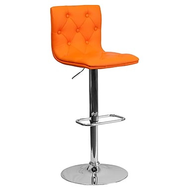 Flash Furniture Adjustable-Height Contemporary Tufted Vinyl Barstool, Orange with Chrome Base (CH112080ORG)