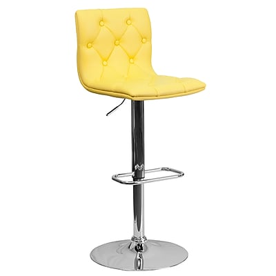 Flash Furniture Contemporary Tufted Vinyl Adjustable-Height Barstool, Yellow with Chrome Base (CH112080YEL)