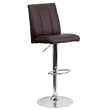 Flash Furniture – Tabouret de bar contemporain et ajustable en vinyle brun et à pied chromé (CH122090BRN)