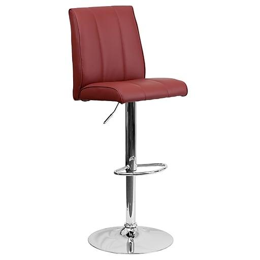 Flash Furniture Adjustable-Height Contemporary Vinyl Barstool, Burgundy with Chrome Base (CH122090BURG)