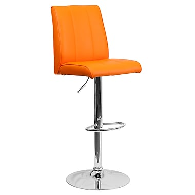 Flash Furniture – Tabouret de bar ajustable de 33,5 po en vinyle orange et à pied chromé, 2/bte (CH122090ORG)