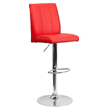 Flash Furniture – Tabouret de bar ajustable contemporain en vinyle rouge et à pied chromé (CH122090RED)