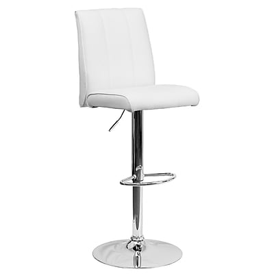 Flash Furniture Adjustable-Height Contemporary Vinyl Barstool, White with Chrome Base (CH122090WH)