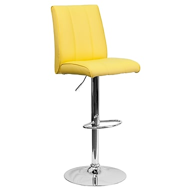 Flash Furniture – Tabouret de bar ajustable contemporain en vinyle jaune et à pied chromé (CH122090YEL)