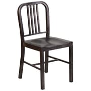 Flash Furniture Metal Indoor/Outdoor Chair, Black/Antique Gold (CH3120018BQ)
