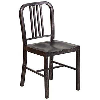 Flash Furniture Metal Indoor/Outdoor Chair, Black/Antique Gold (CH3120018BQ)