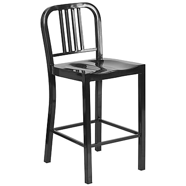 Flash Furniture 24'' High Metal Indoor/Outdoor Counter-Height Stool, Black (CH3120024BK)
