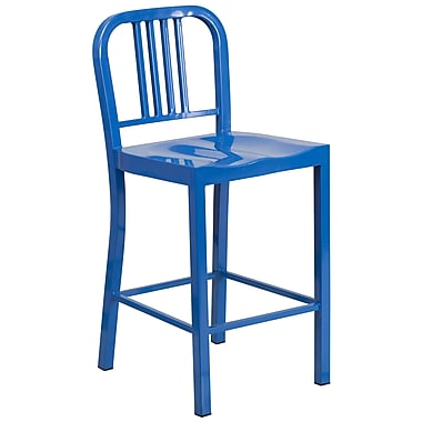 Flash Furniture 24'' High Metal Indoor/Outdoor Counter-Height Stool, Blue (CH3120024BL)