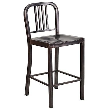 Flash Furniture 24''H Metal Indoor/Outdoor Counter-Height Stool, Black/Antique Gold (CH3120024BQ)