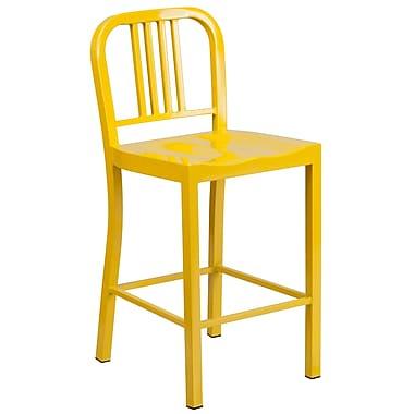 Flash Furniture – Tabouret de comptoir en métal pour l'intérieur et l'extérieur, siège à 24 po, jaune (CH3120024YL)