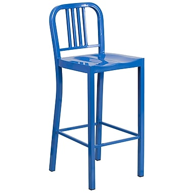 Indoor-Outdoor 30'' High Barstool Blue Metal (CH3120030BL)