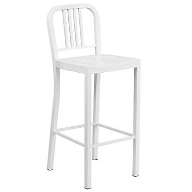 Flash Furniture – Tabouret de bar de 30 po en acier pour intérieur et extérieur, blanc (CH3120030WH)