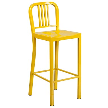 Flash Furniture 30'' High Metal Indoor-Outdoor Barstool, Yellow Powder Coat Finish, (CH3120030YL)