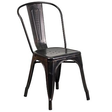 Flash Furniture – Chaise empilable en métal avec accoudoirs pour l'intérieur et l'extérieur, noir/or patiné (CH31230BQ)