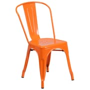 Flash Furniture Metal Indoor/Outdoor Stackable Chair, Orange (CH31230OR)