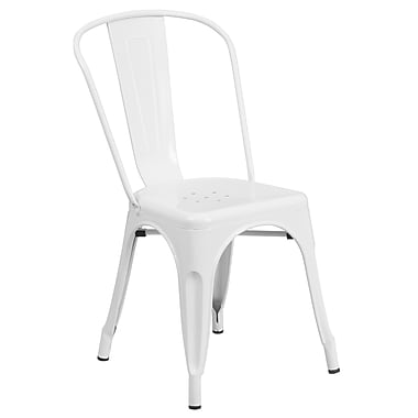 Flash Furniture Metal Indoor/Outdoor Stackable Chair, White (CH31230WH)