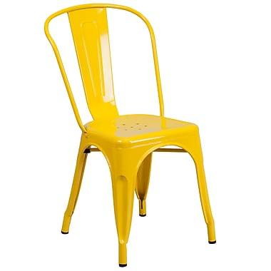 Flash Furniture – Chaise empilable d'intérieur et d'extérieur, métal, jaune fini poudré, 4/boîte (CH31230YL)