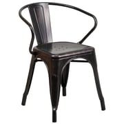 Flash Furniture Metal Indoor/Outdoor Chair with Arms, Black/Antique Gold (CH31270BQ)