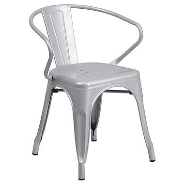 Flash Furniture – Chaise en acier avec bras pour l'intérieur et l'extérieur, argenté (CH31270SIL)