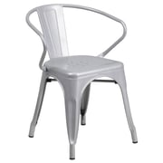 Flash Furniture Metal Indoor/Outdoor Chair, Silver with Arms (CH31270SIL)