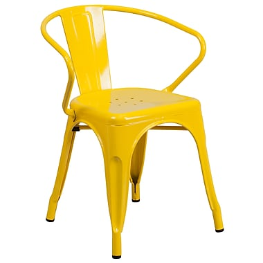 Flash Furniture Metal Indoor/Outdoor Chair with Arms, Yellow (CH31270YL)