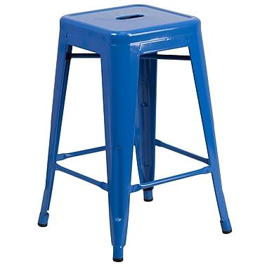 Flash Furniture – Tabouret de comptoir de 24 po en métal sans dossier, int/ext, siège carré, bleu (CH3132024BL)
