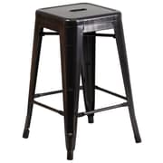 Flash Furniture 24''H Backless Black-Antique Gold Metal Indoor/Outdoor Counter-Height Stool, Square Seat (CH3132024BQ)