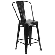 Flash Furniture 24'' High Metal Indoor/Outdoor Counter Height Stool, Black (CH3132024GBBK)