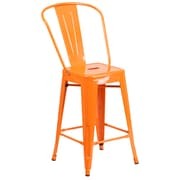 Flash Furniture 24''H Indoor-Outdoor Counter Height Stool, Orange Metal (CH3132024GBOR)