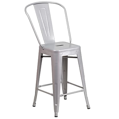 Flash Furniture 24.25'' High Silver Metal Indoor-Outdoor Counter Height Stool, (CH3132024GBSIL)