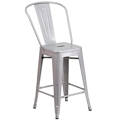Flash Furniture 24.25'' High Silver Metal Indoor-Outdoor Counter Height Stool (CH3132024GBSIL)