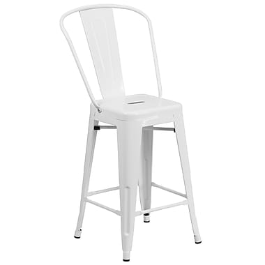 Flash Furniture 24'' High White Metal Indoor/Outdoor Counter Height Stool (CH3132024GBWH)