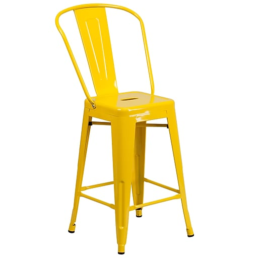 Groovy Flash Furniture 24 High Metal Indoor Outdoor Counter Height Stool Yellow Ch3132024Gbyl Gamerscity Chair Design For Home Gamerscityorg