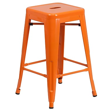 Flash Furniture – Tabouret de comptoir en acier de 24 po à siège carré et sans dossier, int/ext, orange (CH3132024OR)