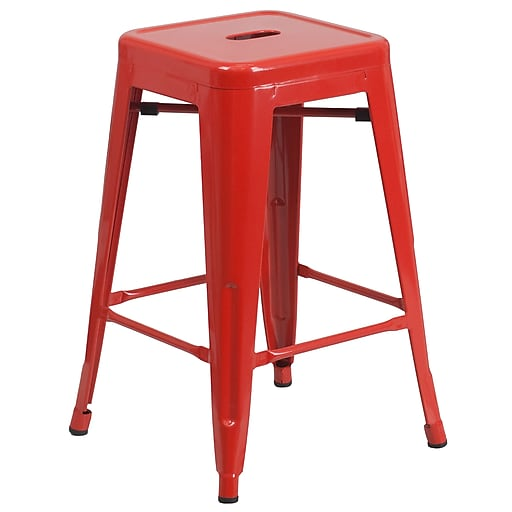 Flash Furniture 24''H Backless Indoor/Outdoor Counter Height Stool, Red Metal, Square Seat (CH3132024RED)
