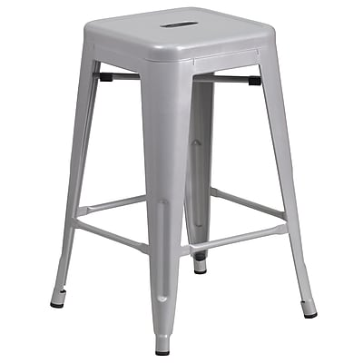 Flash Furniture 24'' High Backless Metal Indoor-Outdoor Counter Height Stool w/Sq Seat, Silver