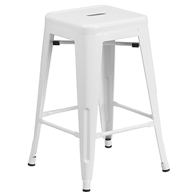 Flash Furniture 24'' High Backless White Metal Indoor-Outdoor Counter Height Stool with Square Seat, (CH3132024WH)