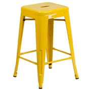 Flash Furniture 24'' High Backless Metal Indoor/Outdoor Counter-Height Stool, Yellow with Square Seat (CH3132024YL)