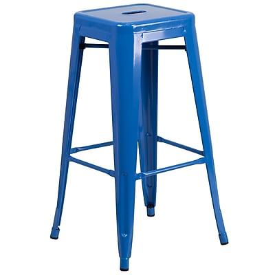 Flash Furniture 30''H Backless Metal Indoor/Outdoor Barstool with Square Seat, Blue (CH3132030BL)