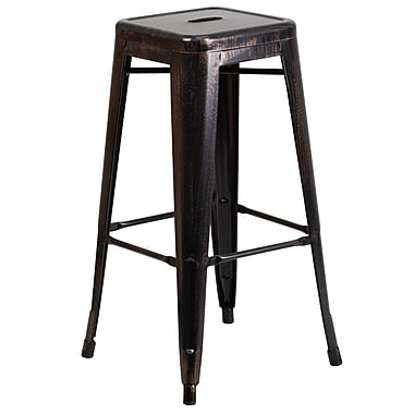 Flash Furniture – Tabouret bistro de 30 po en métal sans dossier, int/ext, siège carré, noir/or patiné (CH3132030BQ)