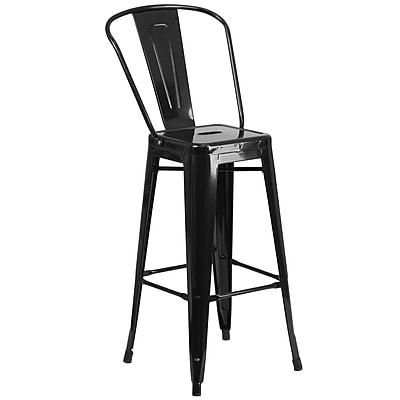 Flash Furniture 30''H Metal Indoor/Outdoor Barstool, Black (CH3132030GBBK)