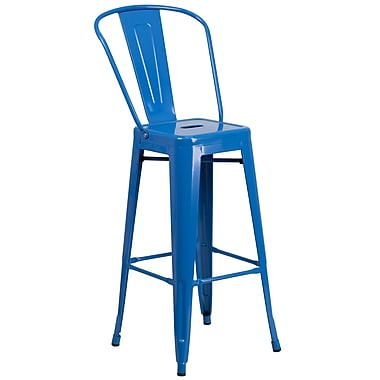 Flash Furniture 30.25'' High Metal Indoor-Outdoor Barstool, Blue Powder Coat Finish, (CH3132030GBBL)