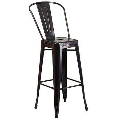 Flash Furniture 30''H Metal Indoor/Outdoor Barstool, Black/Antique Gold (CH3132030GBBQ)