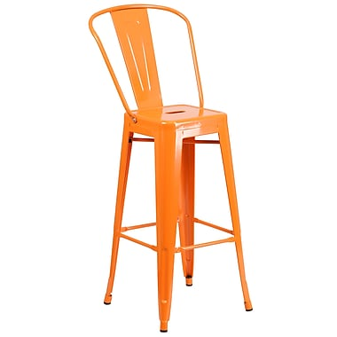 Flash Furniture – Tabouret bistro de 30,25 po en métal pour int/ext, orange fini poudré, 4/bte (CH3132030GBOR)