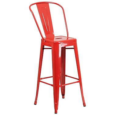 Flash Furniture 30''H Red Metal Indoor/Outdoor Barstool (CH3132030GBRED)