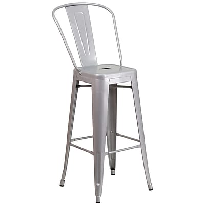 Flash Furniture 30'' High Metal Indoor/Outdoor Barstool, Silver (CH3132030GBSIL)