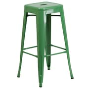 Flash Furniture 30''H Backless Green Metal Indoor/Outdoor Barstool, Square Seat (CH3132030GN)