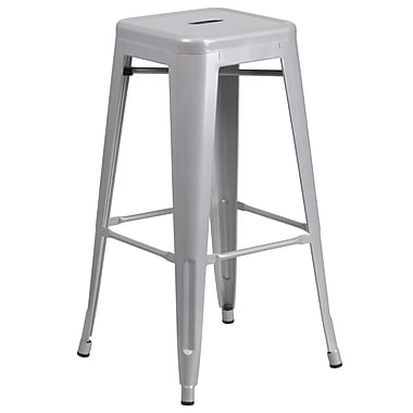 Flash Furniture 30'' High Backless Silver Metal Indoor-Outdoor Barstool with Square Seat, (CH3132030SIL)