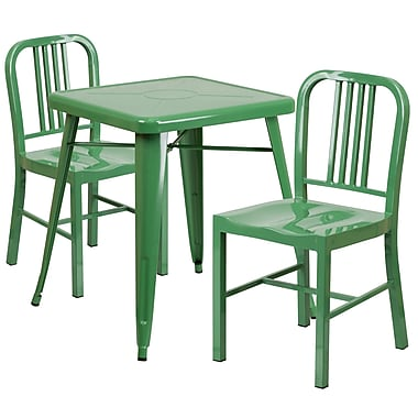 Flash Furniture Metal Indoor/Outdoor Table Set with 2 Vertical-Slat-Back Chairs, Green (CH31330218GN)