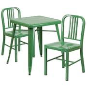 Flash Furniture – Ensemble table et 2 tabourets à dossier, intérieur/extérieur, métal, vert (CH31330218GN)